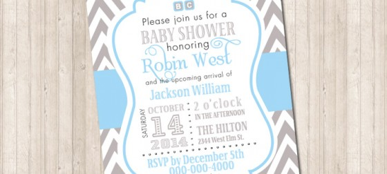 Chevron Gray and Blue Invitation