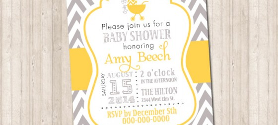Chevron Gray & Yellow Invitation