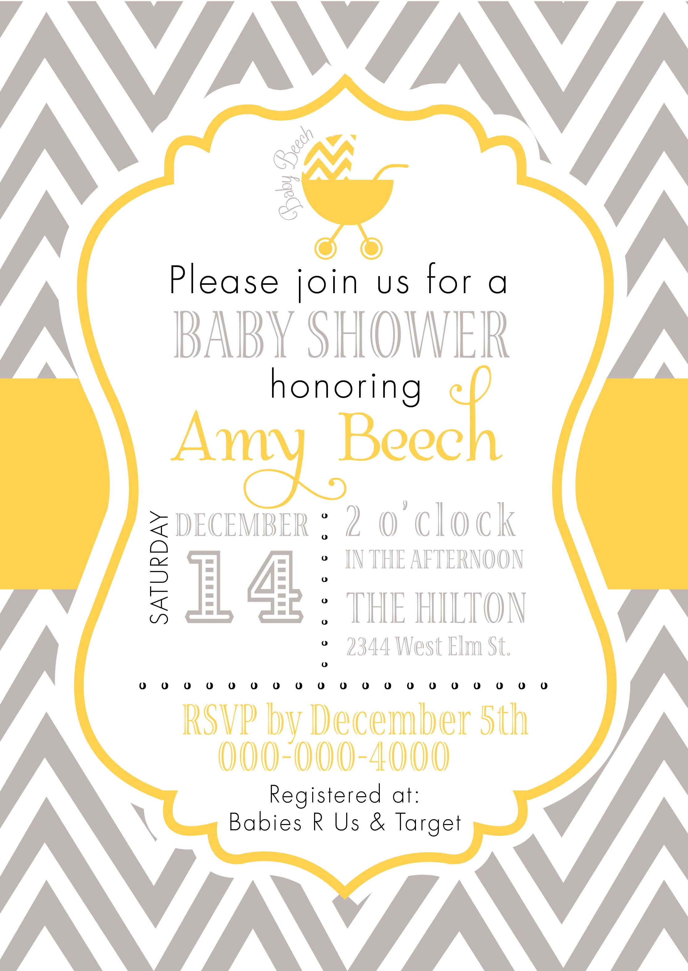 Chevron gray yellow invitation pure design graphics chevron gray yellow invitation stopboris Gallery