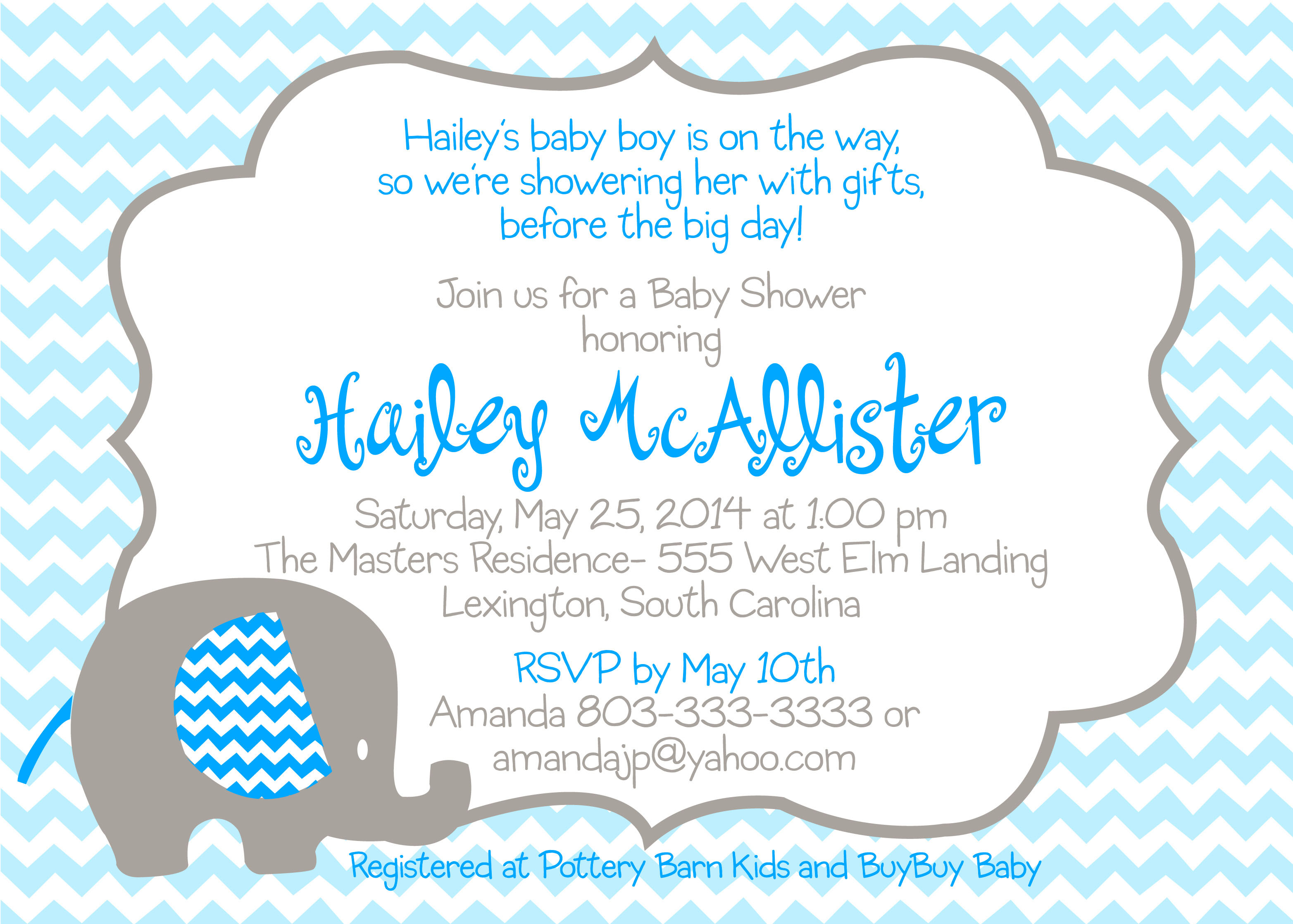 Baby Shower Blue Elephant Invitation - Pure Design Graphics
