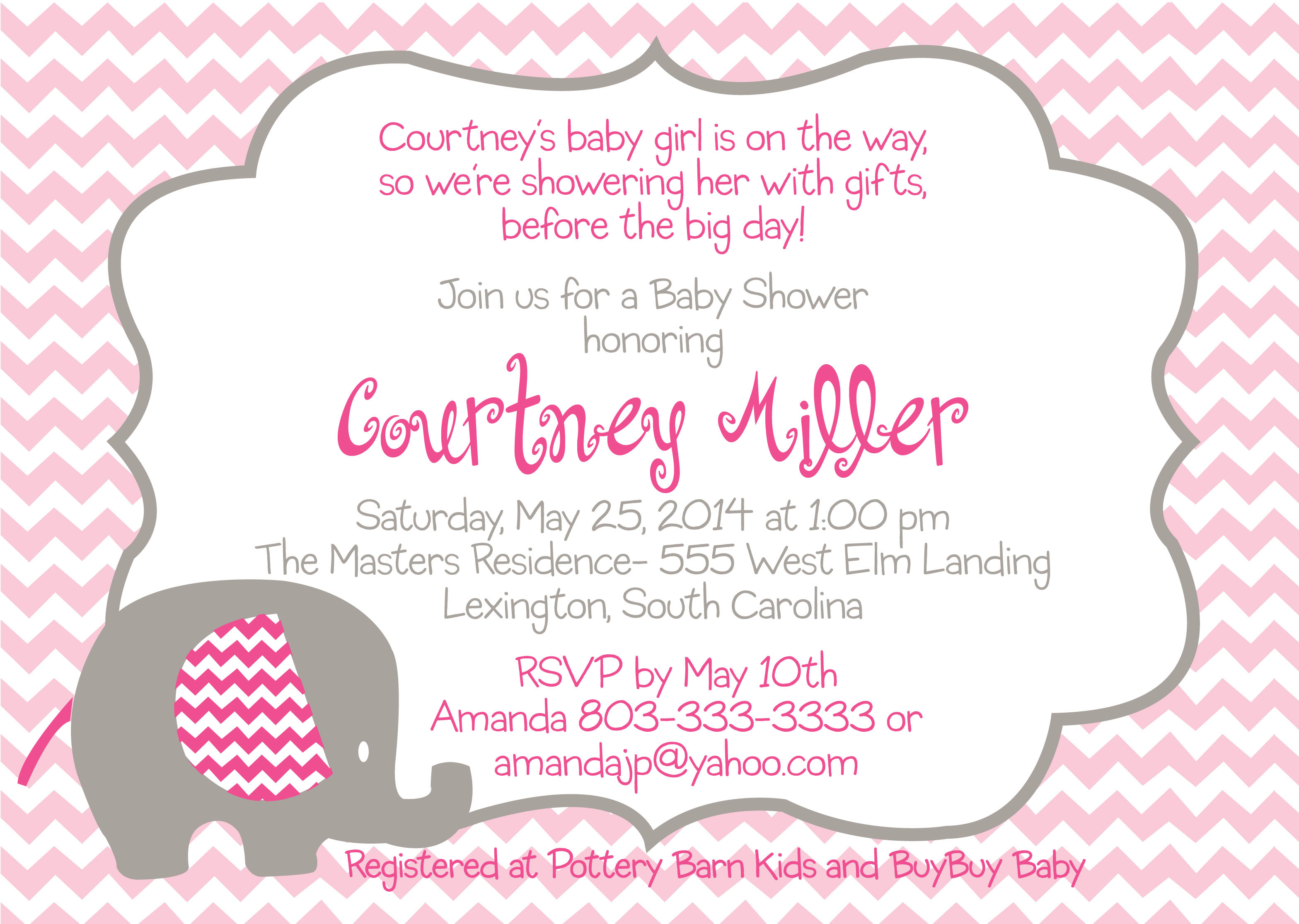 Pink baby elephant graphic