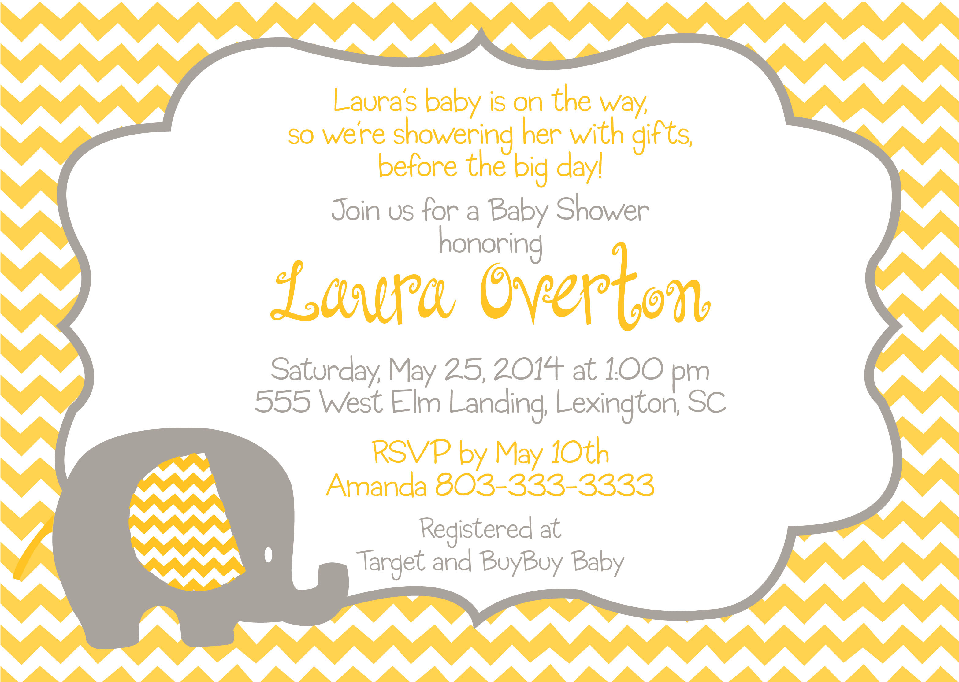 Baby shower yellow elephant invitation pure design graphics baby shower yellow elephant invitation filmwisefo
