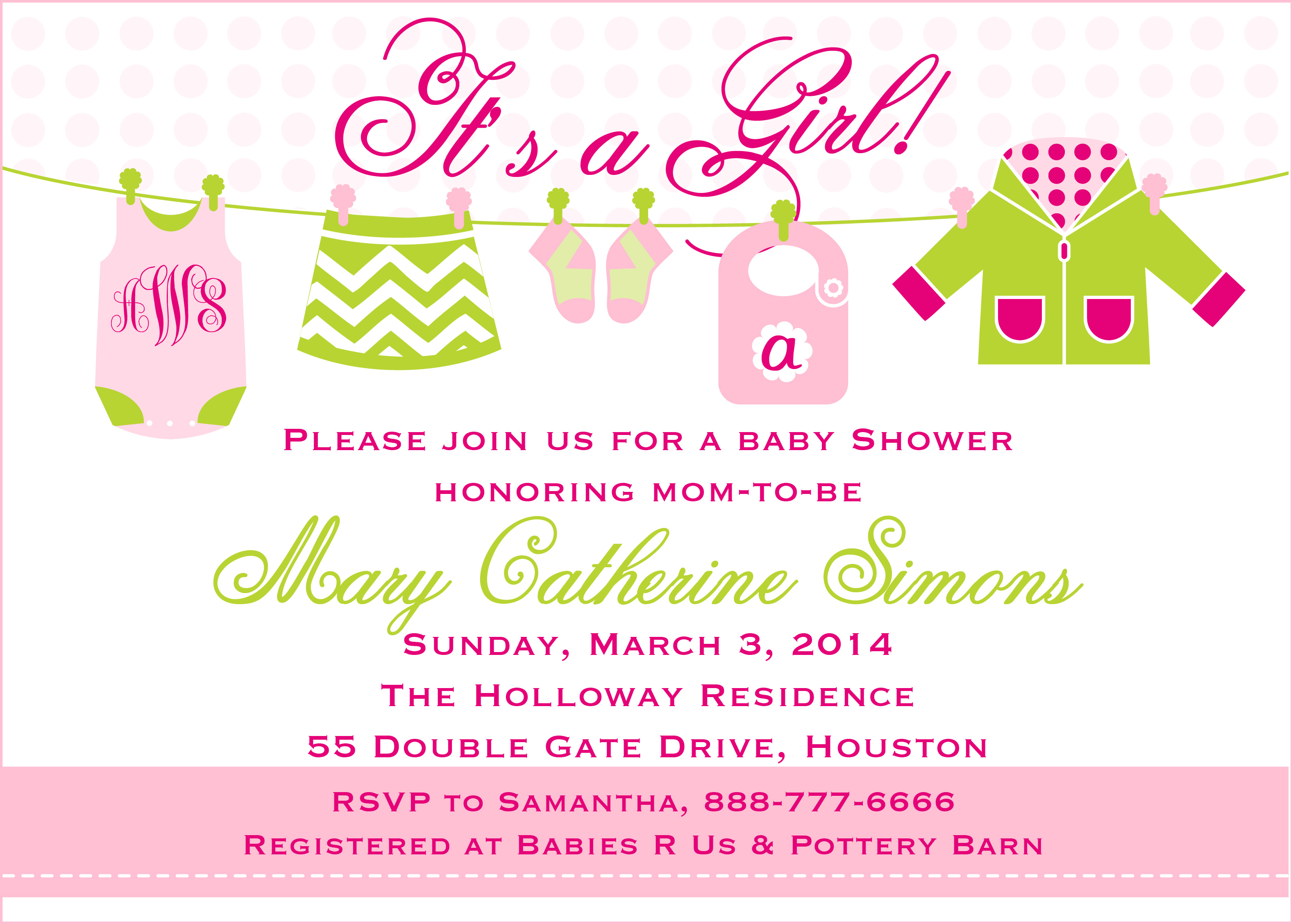 Baby Girl Clothesline Invitation Pure Design Graphics