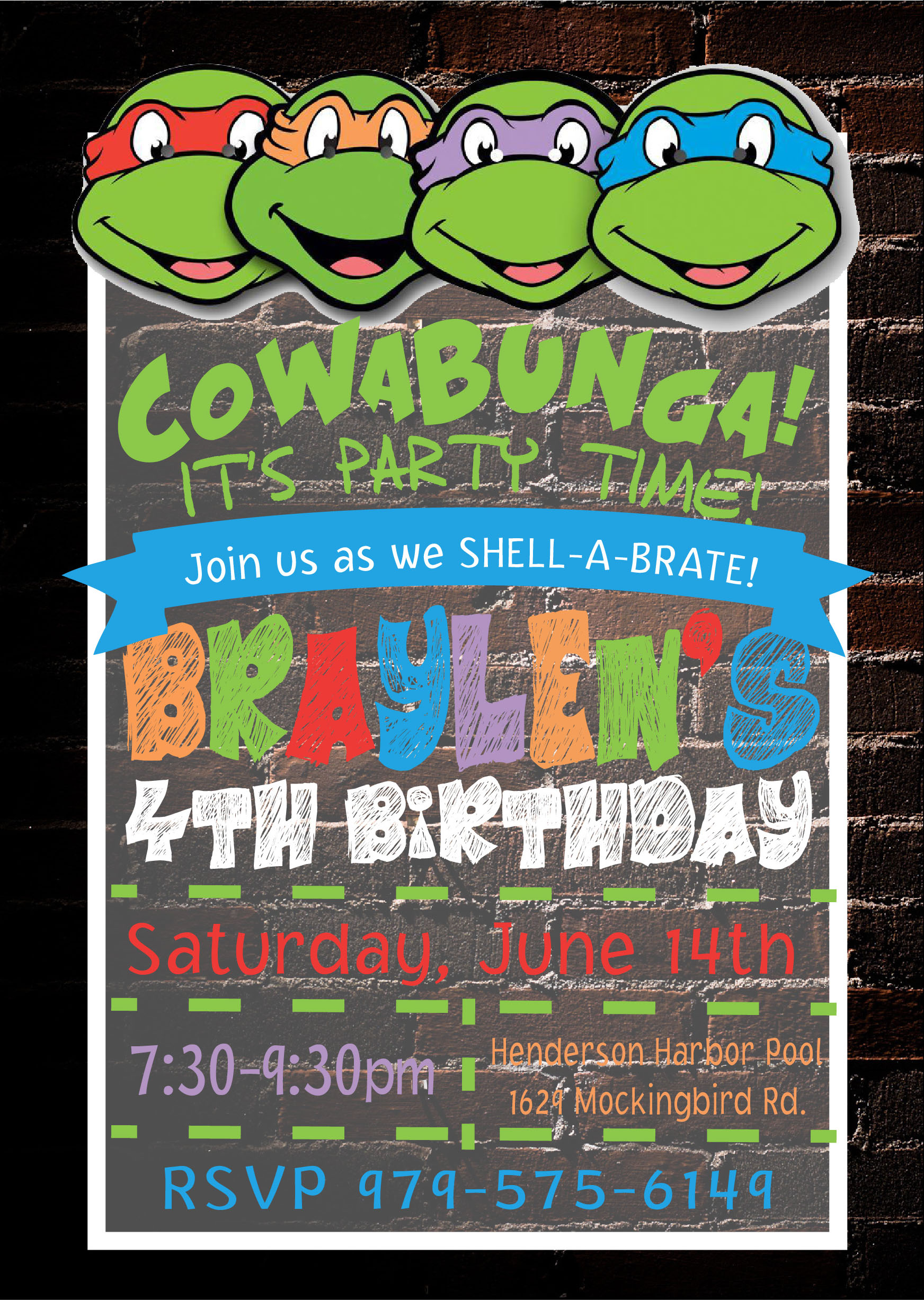 Teenage Mutant Ninja Turtles Invitation Pure Design Graphics