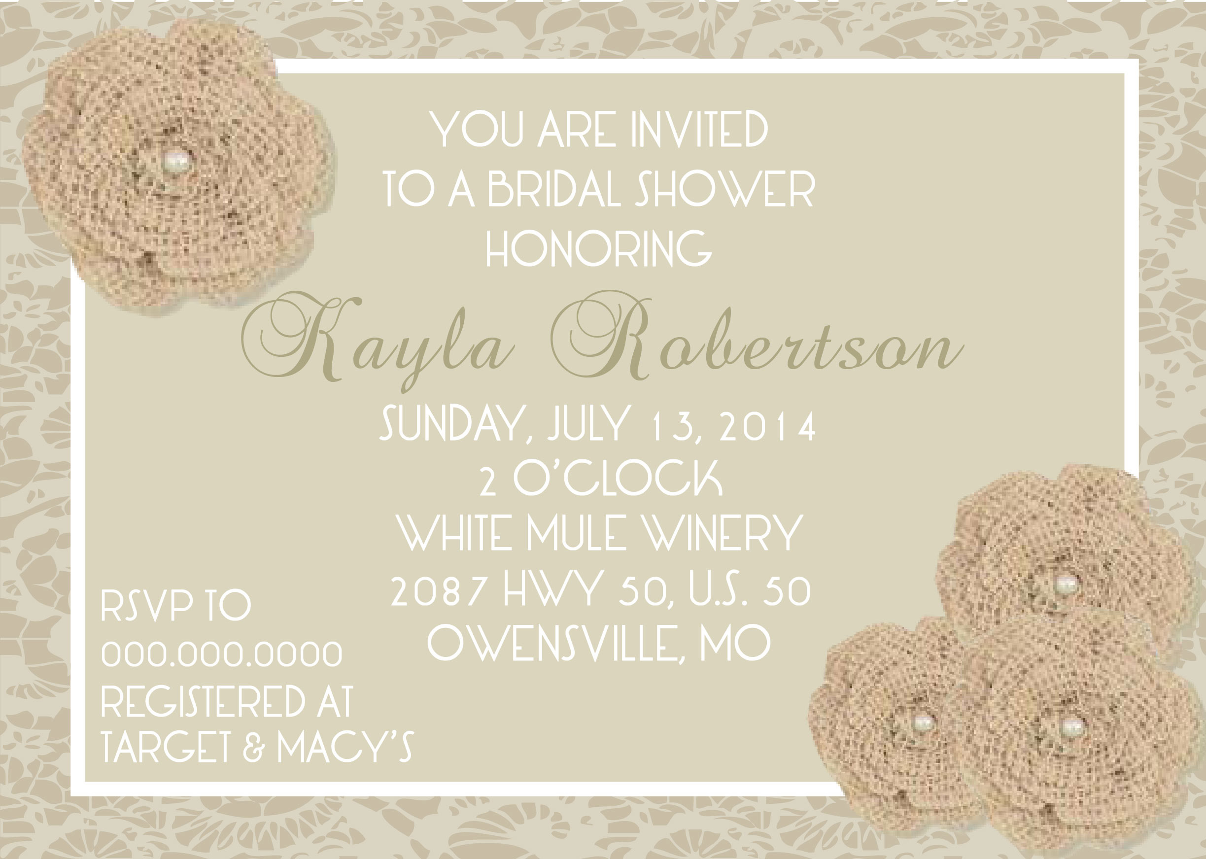 Burlap Lace Bridal Shower Invitation