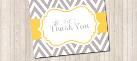 Thank You Foldover Card- chevron gray & yellow