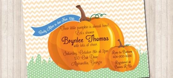 Fall Chevron Pumpkin Invitation with Blue Tag