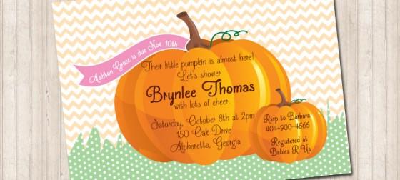 Fall Chevron Pumpkin Invitation with Pink Tag