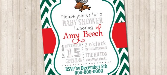 Baby Reindeer Christmas Holiday Invitation