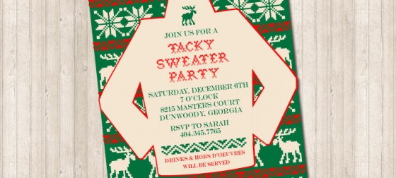 Tacky Sweater Christmas Holiday Invitation