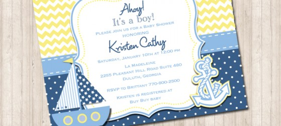 Nautical Baby Shower Invitation Yellow Chevron Blue Polka Dot
