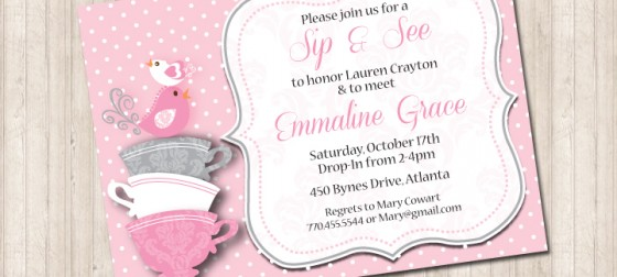 Sip and See Baby Shower Bird Invitation Pure Design Graphics