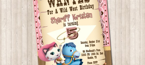 Sheriff Callie Wild West Wanted Invitation - Pure Design Graphics