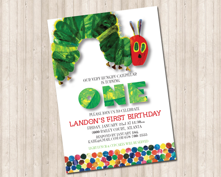 A Very Hungry Caterpillar Invitation Pure Design Graphics