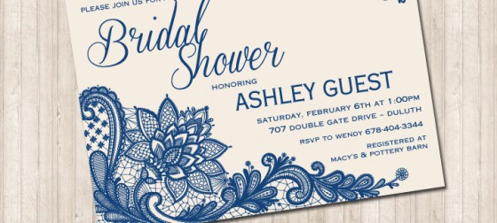 Detailed Navy Lace Invitation