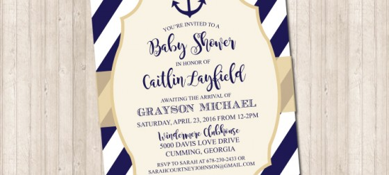 Nautical Navy Stripe & Anchor Invitation