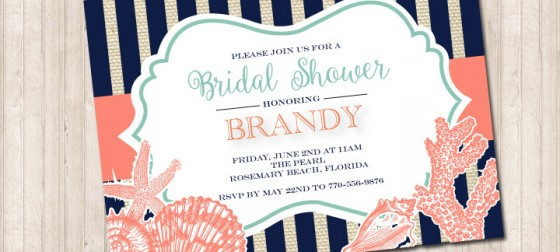 Navy Striped Seashell Beach Invitation in Coral and Mint