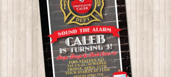 Fire Station Truck Party Invitation