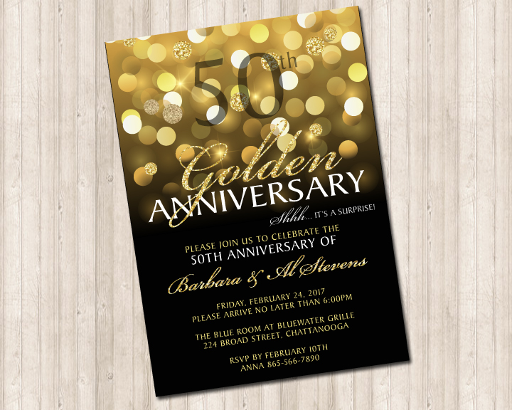 Fiftieth Wedding Anniversary Invitations: 50th Golden Wedding Anniversary Invitation
