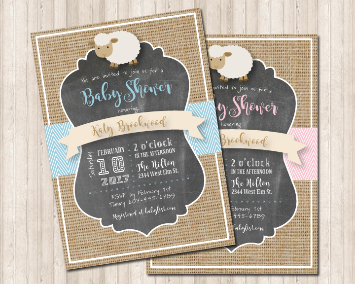 Neutral Burlap Baby Shower Lamb Invitation For Boy Or Girl