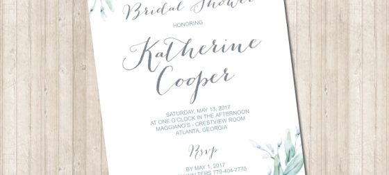 Floral Watercolor Blue & Gray invitation for Bridal or Baby Shower