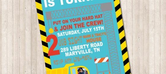 Construction Dump Truck and Crane Birthday Invitation