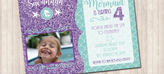 Mermaid Glitter Invitation with Picture