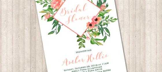 Water Color Floral Box Invitation